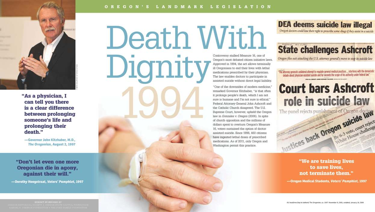 death with dignity Death with dignity laws, also known as physician-assisted dying or aid-in-dying  laws, stem from the basic idea that it is the terminally ill people, not government.